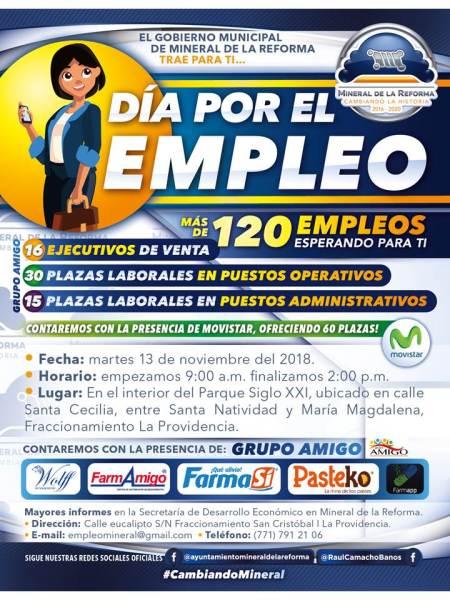 """Invita Mineral de la Reforma a """"Día por el empleo"""" en La Providencia"""
