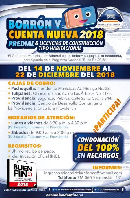 """Invita Mineral de la Reforma a regularizar pagos prediales participando en """"Borrón y Cuenta Nueva 2018"""""""