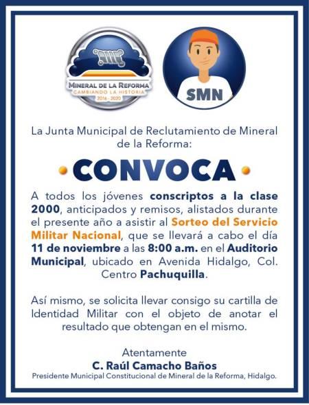 Próximo sábado, Sorteo del Servicio Militar Nacional para la clase 2000 en Mineral de la Reforma .jpg