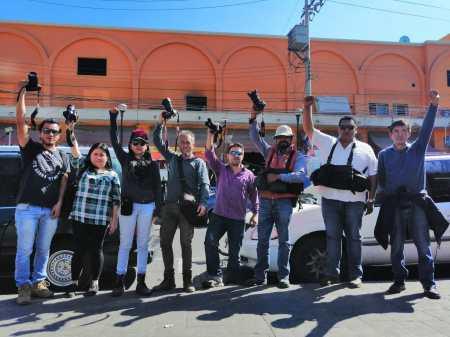 Protesta de foto reporteros en Pachuca2