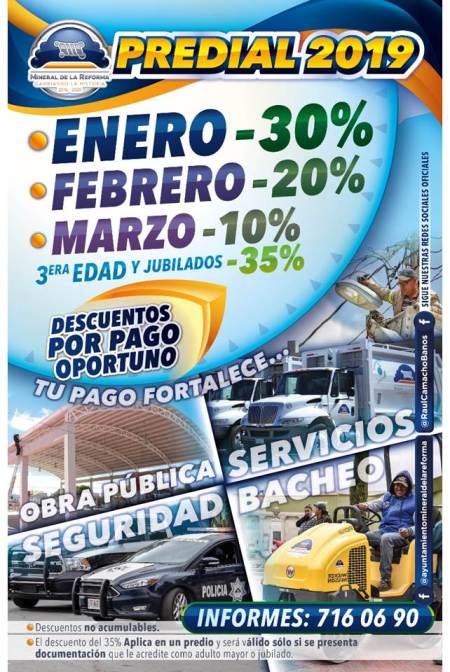 Inicia Mineral de la Reforma cobro predial 2019 con 30% de descuento por pago oportuno