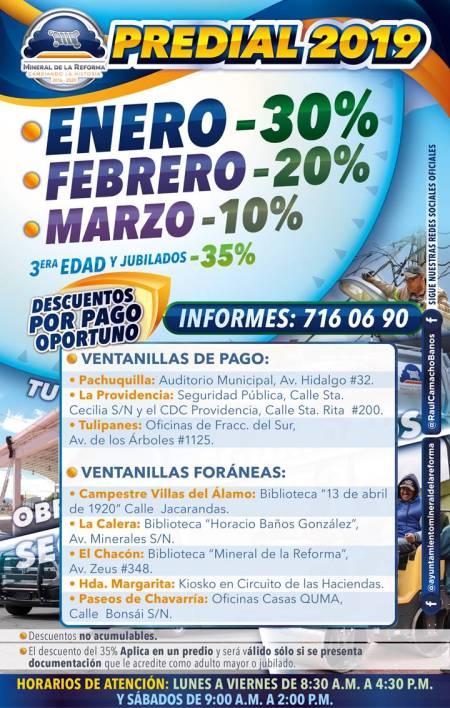 Ofrece Mineral de la Reforma 9 ventanillas para el  pago Predial 2019 en las colonias.jpg