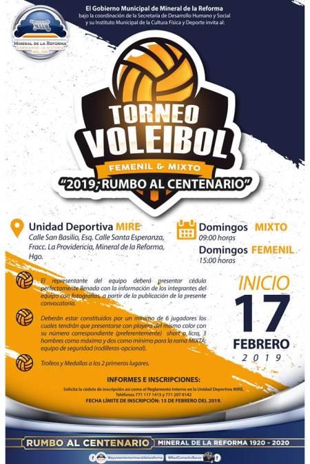 """Invita Mineral de Reforma a Torneo Mixto de Voleibol, """"Rumbo al Centenario"""""""