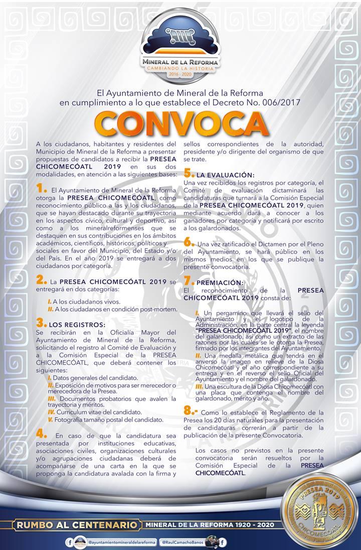 Lanza Mineral de la Reforma convocatoria para la Presea Chicomecóatl 2019 -2