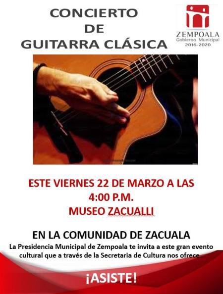 Concierto de guitarra en comunidad de Zempoala