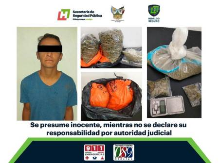 Aseguran en Pachuca a individuo con paquetes de probable marihuana