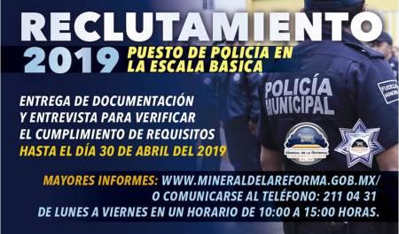 Convocatoria para ser parte de la Policía de Mineral de la Reforma