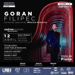 Pianista Goran Filipec, con Orquesta Sinfónica de UAEH2