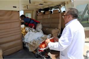 Realizan traslado aéreo de un menor de año tres meses que sufrió quemaduras
