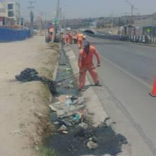 Trabajos de limpieza en el boulevard Independenc2
