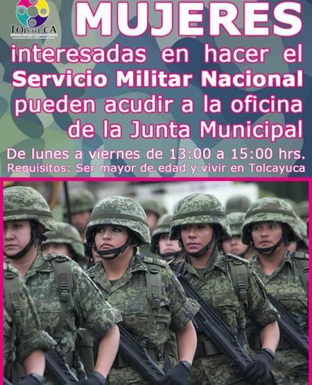 Invitan a mujeres a ser voluntarias en el Servicio Militar Nacional en Tolcayuca