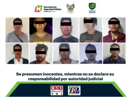 Operativo regional de la SSPH, caen 16 por probables delitos