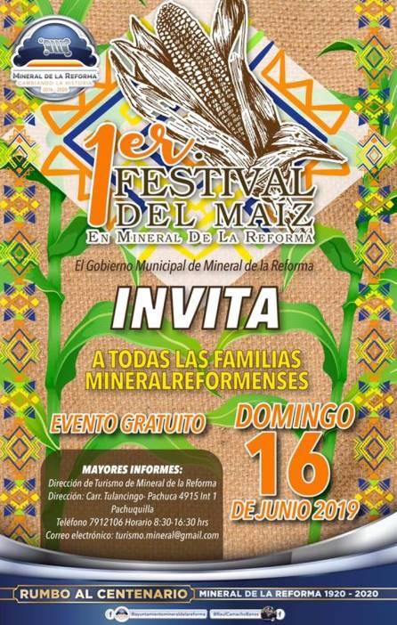 Invita Mineral de la Reforma al Primer Festival del Maíz 2