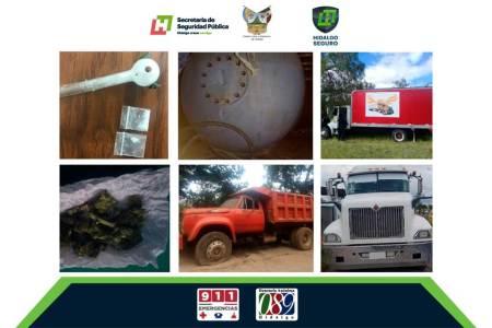 Policía Estatal detiene a dos y asegura 9 vehículos relacionados a probables actividades ilícitas