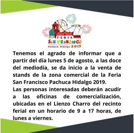 Inicio la venta de stands en la FEria San Francisco Pachuca 2019.jpg
