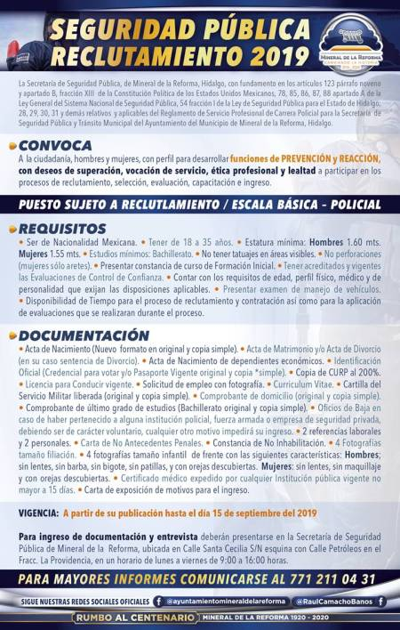 Lanza Mineral de la Reforma convocatoria de reclutamiento para policías, 2019