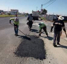 SOPOT realiza trabajos de bacheo en bulevar Santa Catarina1