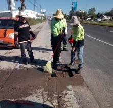 SOPOT realiza trabajos de bacheo en bulevar Santa Catarina2