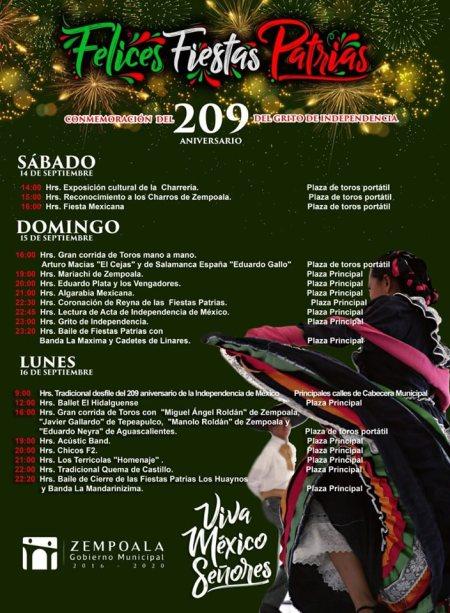 Programa Fiestas Patrias en Zempoala