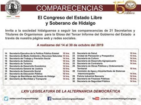 calendario de comparecencias de secretarios 2019