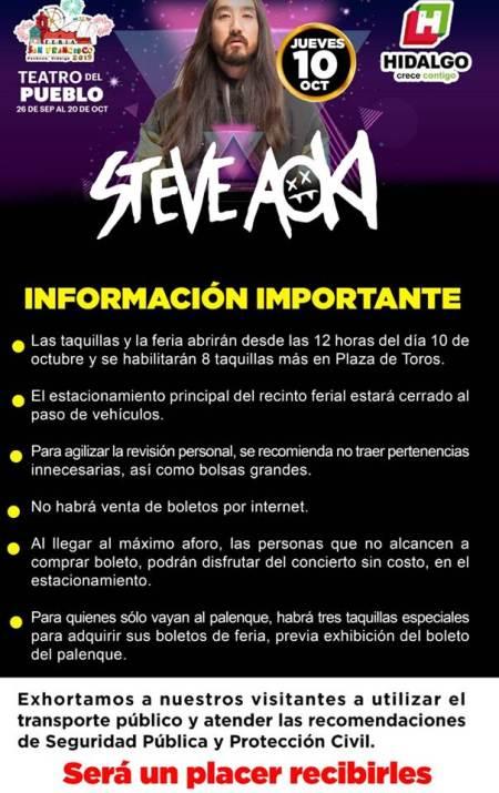 información importante para la presentación del DJ Steve Aoki este jueves 10 de octubre en la Feria San Francisco Pachuca