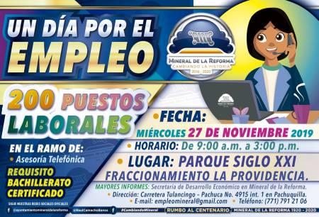 """Alista Mineral de la Reforma, actividad """"Un dia por el empleo"""", ofertan 200 vacantes laborales"""