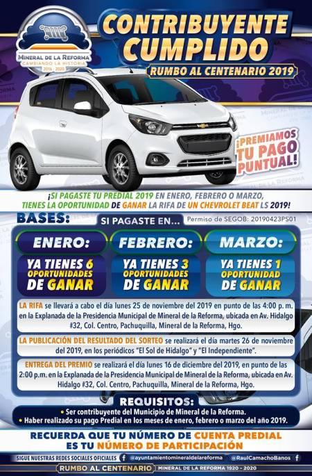 Alista Mineral de la Reforma sorteo de auto para contribuyentes cumplidos 2019