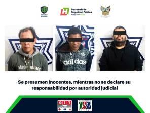 C5i Hidalgo y Policía Estatal aseguran en Tepeapulco a tres individuos tras presunto robo a comercio