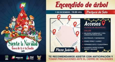 Inician encendidos de árboles navideños en Hidalgo1
