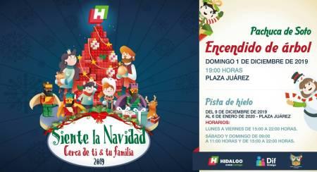 Inician encendidos de árboles navideños en Hidalgo3