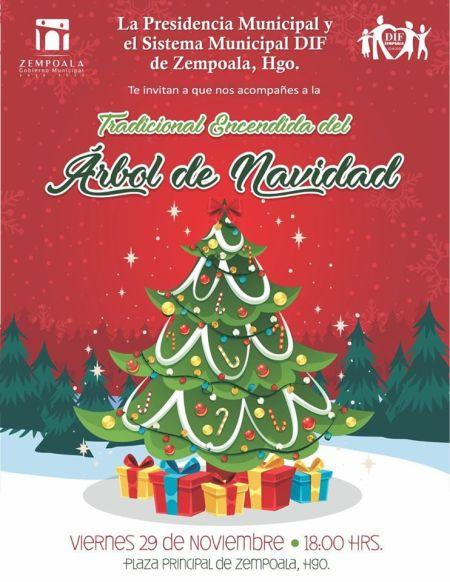 Invitacion a encendido de arbol de navidad en Zempoala