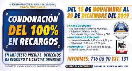 Ofrece Mineral de la Reforma 100% de descuento en recargos en pagos predial y licencias, por buen fin 2019-1