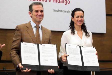 Rumbo al arranque del Proceso Electoral Local 2019-2020, IEEH firma convenio de colaboración con el INE2