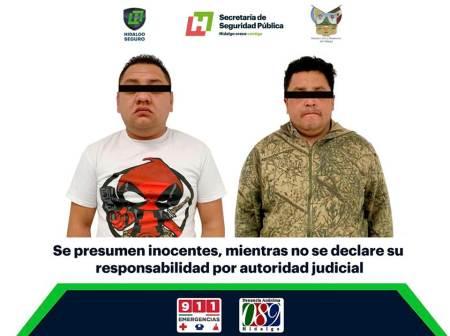 Asegura SSPH a 2 hombres con probable droga en Mineral de la Reforma