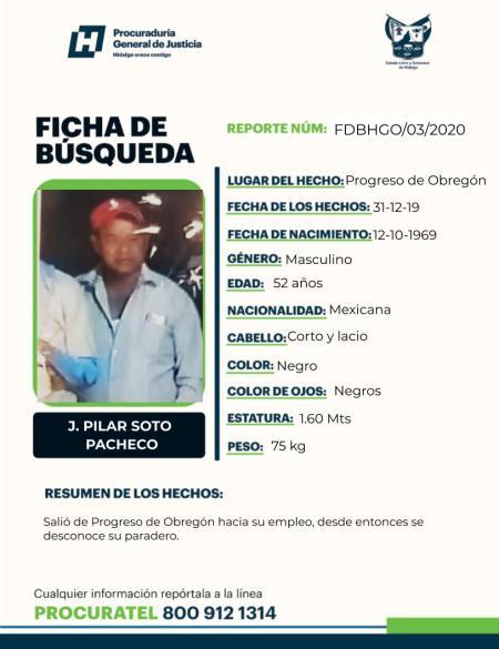 Buscan a J. Pilar Soto Pacheco