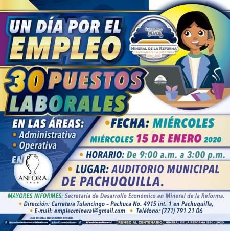 """Invita Mineral de la Reforma, a """"Un día por el empleo"""" en Pachuquilla"""