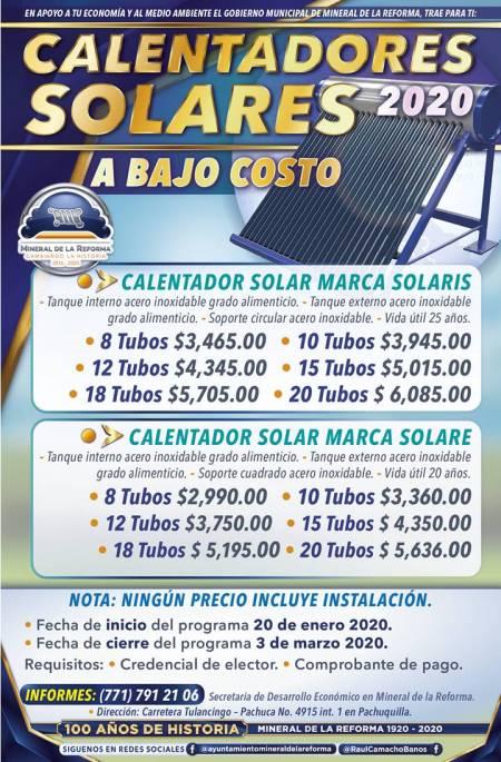 Ofrece Mineral de la Reforma calentadores solares a bajo costo 2020-2