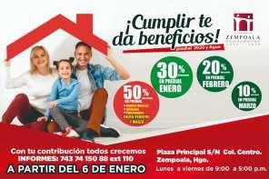 Zempoala, pago predial en la cabcera municipal