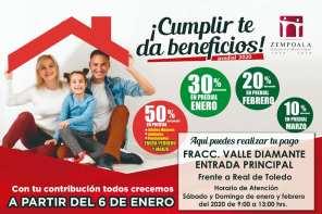 Zempoala, pago predial Fraccionamiento Diamante