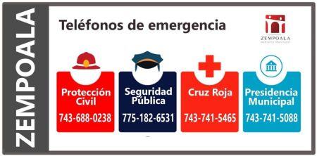 Zempoala, telefonos emergencias