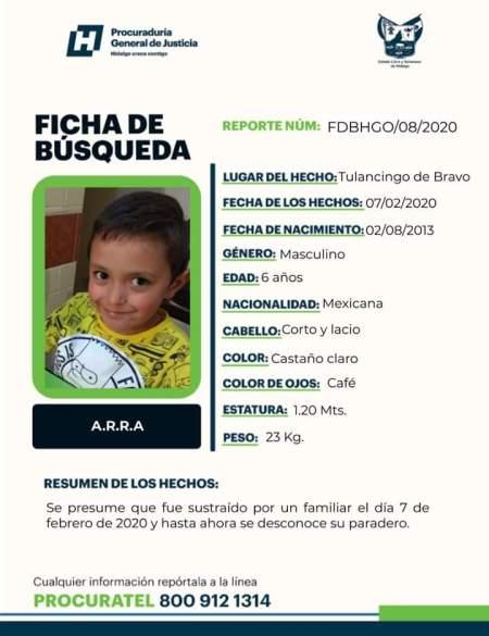 Buscan a menor de 6 años sustraido en Tulancingo