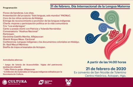 Celebrará Secretaría de Cultura Día Internacional de la Lengua Materna