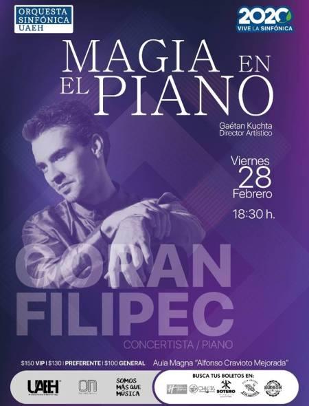 Goran Filipec magia al piano con la Orquesta Sinfónica UAEH