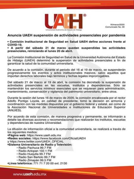 anuncia UAEH suspención de actividades