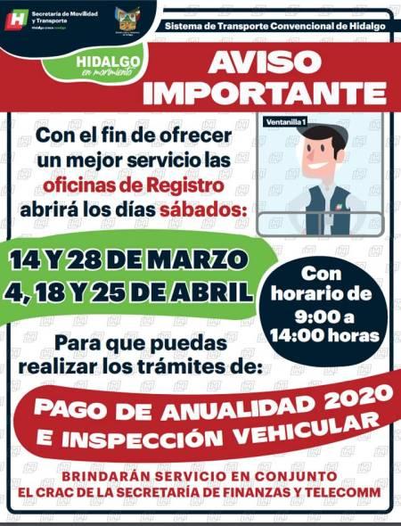 Pago de anualidad 2020 e inspección vehicular