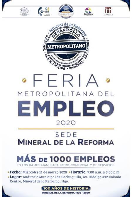 Próximo 11 de marzo; Mineral de la Reforma, sede de la Feria Metropolitana del Empleo