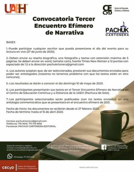 UAEH y Pachuk' Cartonera invitan a participar en el Tercer Encuentro Efímero de Narrativa1