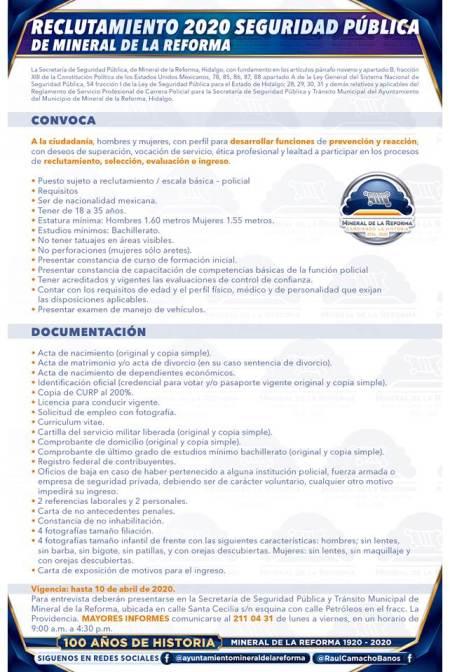 Vigente convocatoria de reclutamiento para policías en Mineral de la Reforma