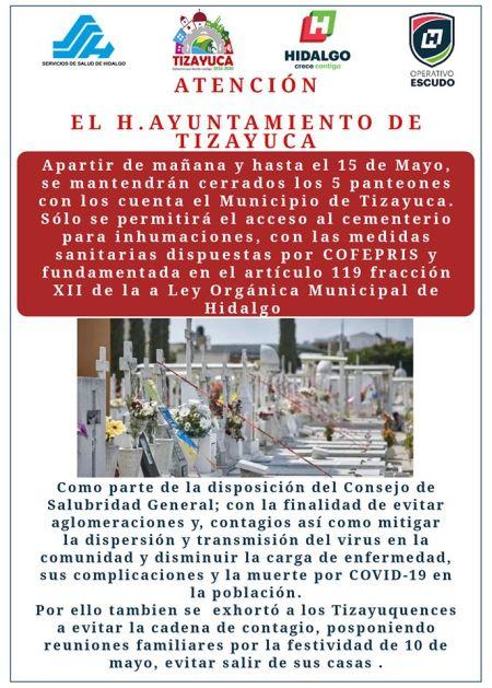 Desde este miércoles 6 de mayo fueron cerrados los cinco panteones de Tizayuca