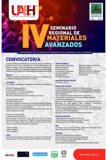 Prepara UAEH IV Seminario Regional de Materiales Avanzados